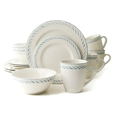 Thomson Pottery Nautical Dutch 16-Piece Dinnerware Set in White  sc 1 st  Bed Bath u0026 Beyond & Buy Blue White Dinnerware Sets from Bed Bath u0026 Beyond