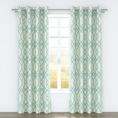 Colorfly™ Piper 84 Inch Grommet Top Window Curtain Panel Pair In Aqua