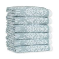 Linum Home Textiles Gioia Turkish Cotton Washcloths in Soft Aqua (Set of 6)