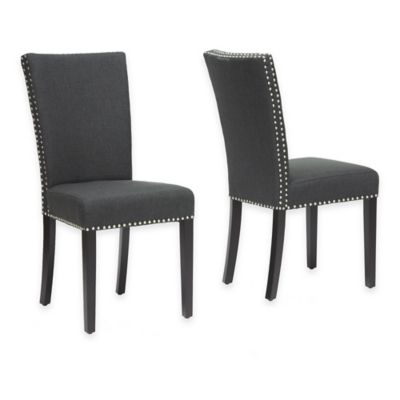 Baxton Studio Harrowgate Linen Dining Chair In Dark Grey (Set Of 2)
