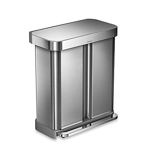 simplehuman dual compartment rectangular 58 liter step trash can bed bath beyond. Black Bedroom Furniture Sets. Home Design Ideas