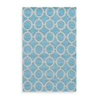 Rugs America Jourdan Circles 2-Foot x 3-Foot Accent Rug in Light Blue