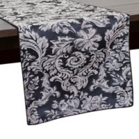 Miranda Damask 72-Inch Table Runner in Black