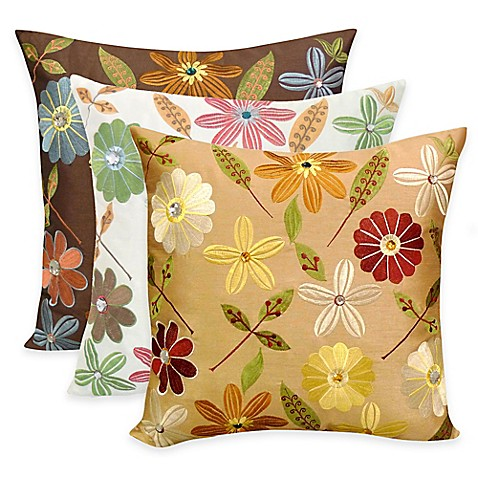 Arlee Home Fashions Milena Embroidered Jewel Square Throw Pillow Set Of 2 Bed Bath Beyond