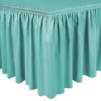 Shirred 13-Foot Polyester Table Skirt in Caribbean Blue