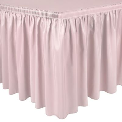 Shirred 11 Foot In Polyester Table Skirt In Ice Peach