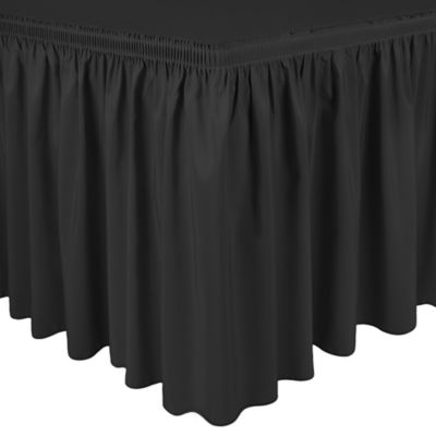 Shirred 13 Foot Polyester Table Skirt In Charcoal