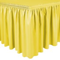 Shirred 11-Foot Polyester Table Skirt in Lemon