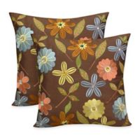Arlee Home Fashions® Milena Embroidered Jewel Square Throw Pillow in Chocolate (Set of 2)