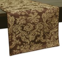 Miranda Damask 108-Inch Table Runner in Chocolate