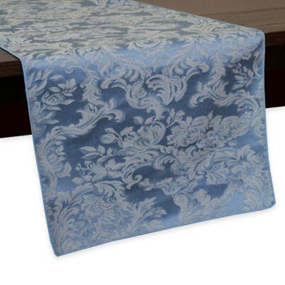 Miranda Damask 54 Inch Table Runner In Slate Blue