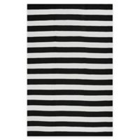 Fab Habitat Nantucket Stripe 3-Foot x 5-Foot Area Rug in Black & White