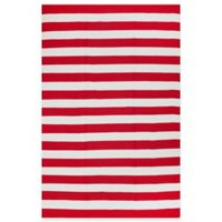 Fab Habitat Nantucket Stripe 3-Foot x 5-Foot Area Rug in Red & White