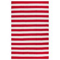 Fab Habitat Nantucket Stripe 3-Foot x 5-Foot Area Rug in Red & White
