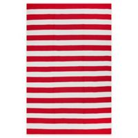 Fab Habitat Nantucket Stripe 5-Foot x 8-Foot Area Rug in Red & White