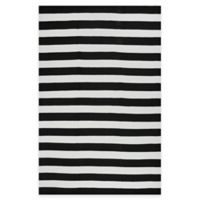 Fab Habitat Nantucket Stripe 6-Foot x 9-Foot Areas Rug in Black & White