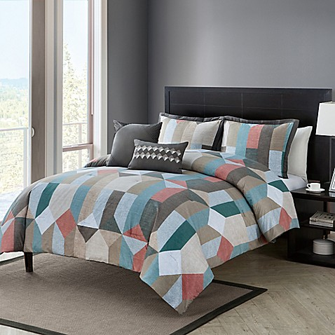 vcny aspect 5piece comforter set in coralgrey bed bath