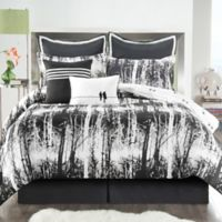 VCNY Woodland 8-Piece Reversible Full Comforter Set in Black/White
