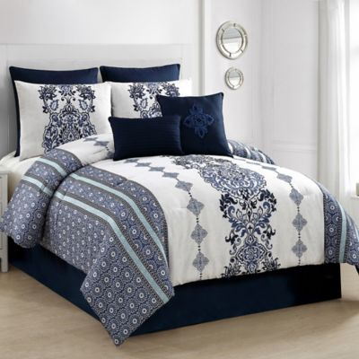 Buy Vcny Rose Fur 3 Piece Full Comforter Set In Blue From