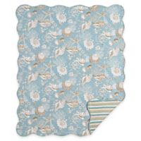 Natural Shells Quilted Throw in Blue/Tan