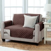 Kaylee Collection Reversible Loveseat-Size Furniture Protector in Chocolate/Beige