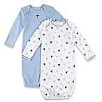 Sterling Baby 2-Pack Newborn Airplane/Solid Gowns in Blue