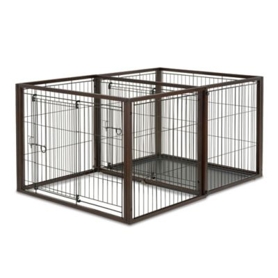 Dog Crate With Bathroom. Flip To Play Medium Convertible Pet Crate In Brown