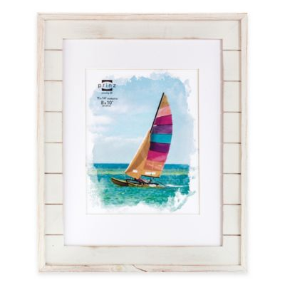 prinz driftwood 8 inch x 10 inch matted wood plank frame in white