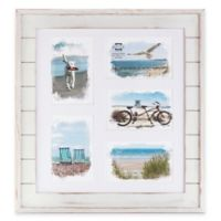 Prinz Driftwood 5-Photo 4-Inch x 6-Inch Matted Wood Plank Collage Frame in White