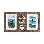 "Prinz Sandpiper 2-Photo 4-Inch x 6-Inch ""The Beach is My Happy Place"" Resin Shell Frame in Natural"