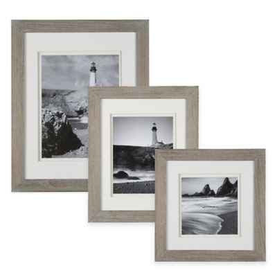 Real Simple® Wood Portrait Frame in Grey Wash with White Double Mat