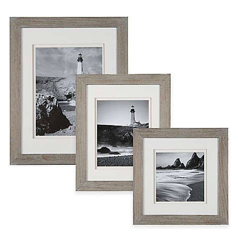 image of Real Simple® Wood Portrait Frame in Grey Wash with White Double Mat