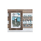 Prinz Coastal 4-Inch x 6-Inch  Love and the Beach  Sentiment Wood Frame in Natural