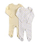 Sterling Baby Newborn 2-Pack Stripe/Moons and Stars Footies in Yellow/Grey