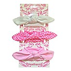 Curls & Pearls 3-Pack Front-Knot Headband in Pink/White