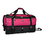 Travelers Club® 30-Inch Drop Bottom Rolling Duffel in Berry