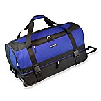 Travelers Club® 30-Inch Drop Bottom Rolling Duffle Bag in Navy