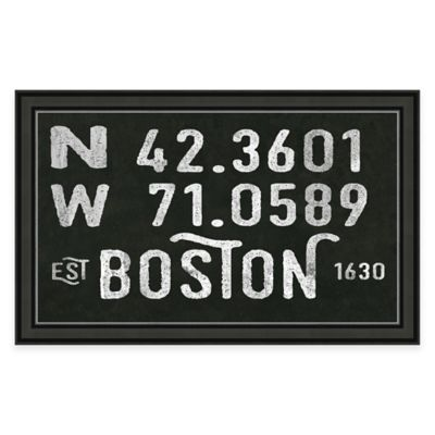 Captivating Boston MA Coordinates Framed Wall Art