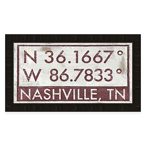 Nashville tennessee coordinates framed wall art bed for Home decor stores in nashville tn