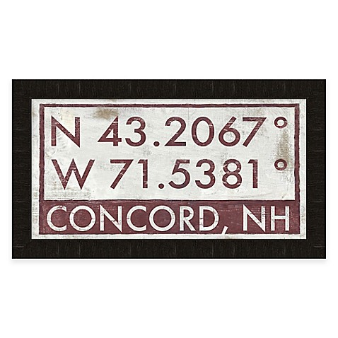 Concord New Hampshire Coordinates Framed Wall Art Bed Bath Beyond