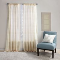 Dawn Stripe 108-Inch Rod Pocket Sheer Window Curtain Panel in Yellow