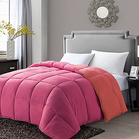 Buy vcny paradise reversible down alternative full queen comforter in pink from bed bath beyond for Home design down alternative color king comforter