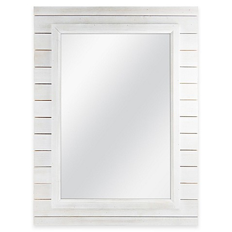 Mcs Industries White Plank Style Rectangular Mirror Bed