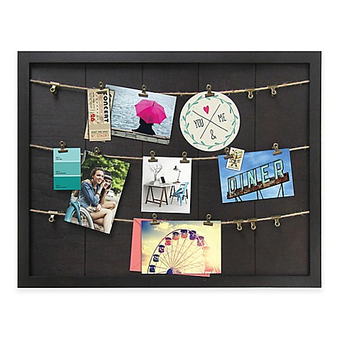 marrone 7 photo rope clip collage wood frame in dark brown bed bath beyond. Black Bedroom Furniture Sets. Home Design Ideas