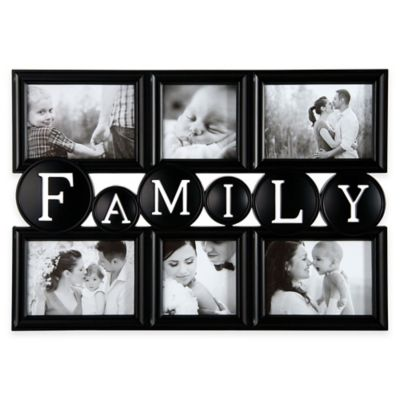 family sentiment 6 photo collage frame in black