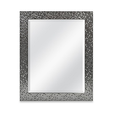 Medium basic 26 5 inch x 32 5 inch large rectangular mirror in silver tile bed bath beyond for Silver framed bathroom mirrors