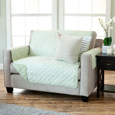 luxe home printed reversible loveseat protector in green