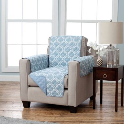 adalyn collection reversible chairsize furniture protectors in lattice print blue