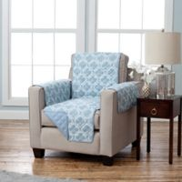 Adalyn Collection Reversible Chair-Size Furniture Protectors in Lattice Print/ Blue