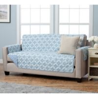 Adalyn Collection Reversible Sofa-Size Furniture Protectors in Lattice Print/ Blue